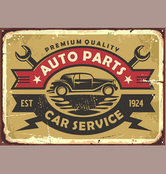 Auto parts and car service old vintage sign vector