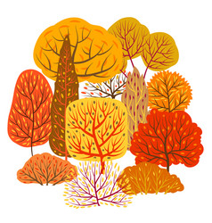 background with autumn stylized trees vector image
