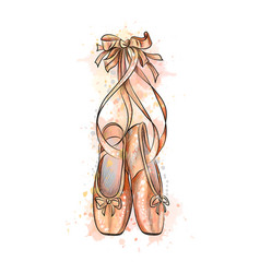 Ballet shoes pointe shoes from a splash of vector
