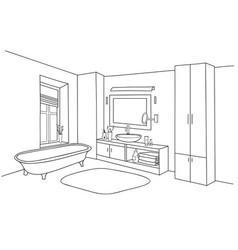 bathroom interior bath room furniture set vector image