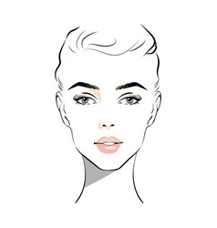 Beautiful woman face with nude make-up hand drawn vector