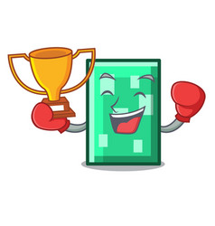 Boxing winner rectangle mascot cartoon style vector