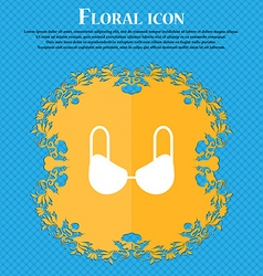 Brassiere top icon sign Floral flat design on a vector