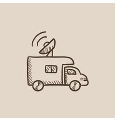 Broadcasting van sketch icon vector image