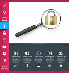 business infographics loupe lock icon vector image