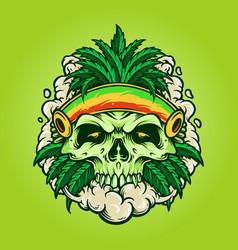 cannabis leaf skull marijuana vector image