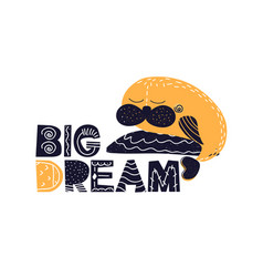 Card with lettering big dream in scandinavian vector