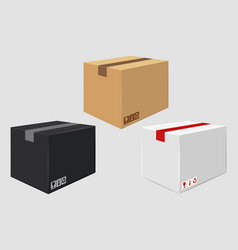 Cardboard close box side view package design vector