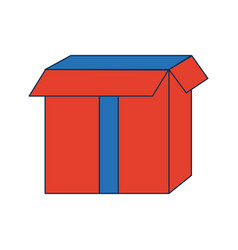 Carton container cardboard box pack open package vector
