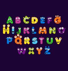 Cartoon alphabet font monster style stock vector