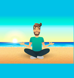 cartoon flat happy man sitting on beach and vector image