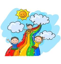 Cartoon little kids playing slide rainbow vector image