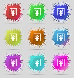 Child swinging icon sign A set of nine original vector