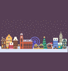 Christmas europe city banner vector
