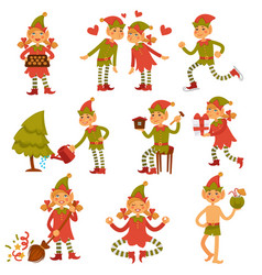Christmas male and female elves in festive clothes vector