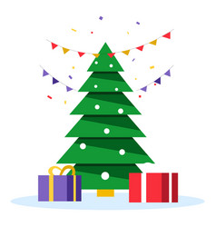 christmas tree and xmas presents gift boxes under vector image