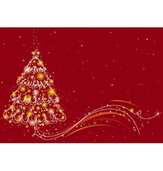 Christmas tree on the red background vector