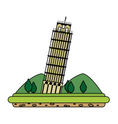 color leaning tower of pisa with mountains and vector image