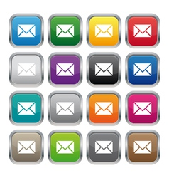 Contact us metallic square buttons vector