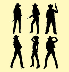cowboy and cowgirl silhouette 01 vector image