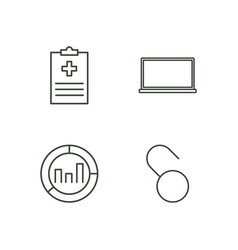 Data outline icons set vector