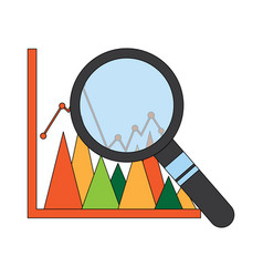 diagram graph statistic and magnifier search vector image