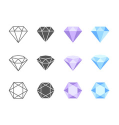diamond colorful icons vector image