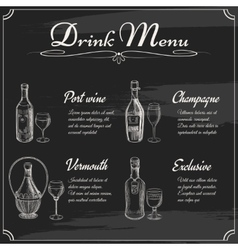 Drink menu elements on chalkboard vector