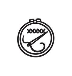 Embroidery sketch icon vector