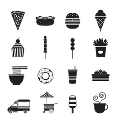 Fast Food Mono Icons Set vector image
