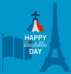 France bastille postcard vector