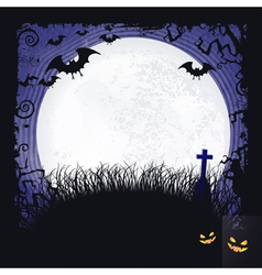 Full moon with bats and cross Halloween vector image