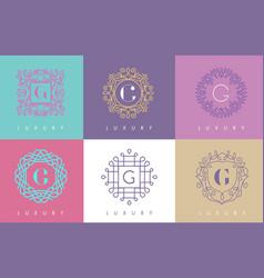 g letter pastel floral monogram lines logo design vector image