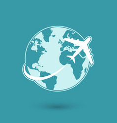 Global plane travel network icon vector
