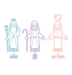 God father son holy spirit cartoon vector