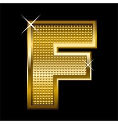 Golden font type letter F vector
