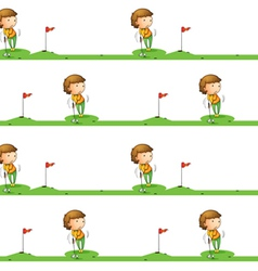Golf playing boy vector image