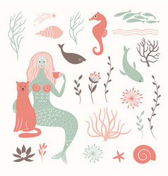 Graphic set mermaid cat sea life elements vector