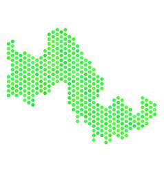 green hexagon tilos greek island map vector image