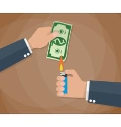 hand burn money bill vector image