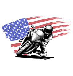 hand drawn and inked vintage american chopper vector image