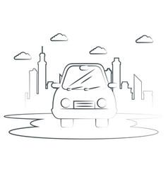 Hand-drawn car icon vector