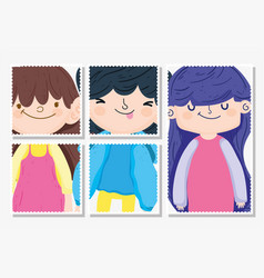 happy children day cute girls and boy cartoon vector image