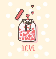 happy valentines day love bottle with hearts vector image