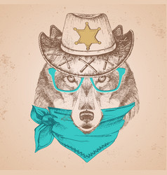 hipster animal wolf hand drawing muzzle of wolf vector image