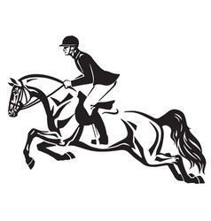Horse show jumping vector