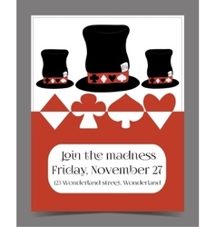 Invitation card - Hatter Hat from Wonderland vector image