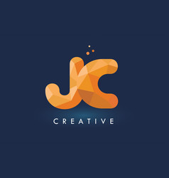 jc letter with origami triangles logo creative vector image
