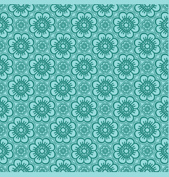 Korean traditional green flower pattern background vector
