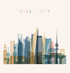 Kuwait city skyline detailed silhouette vector